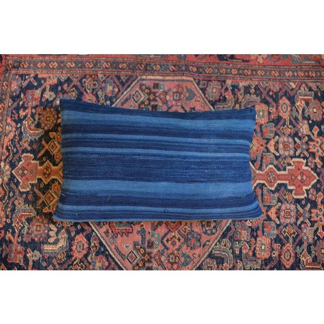 Image of Dark Blue Striped Indigo Lumbar Pillow