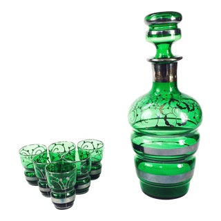 Vintage Emerald Green Glass Decanter Set