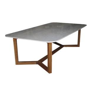Custom Calacatta Sponda Marble Table with Petiribi Wood Base