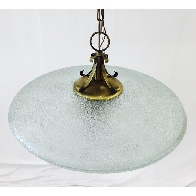 Vintage Mid-Century Glass & Brass Disk Pendant Light - Image 4 of 11