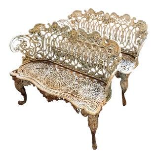 Victorian Cast Iron Garden Bench - A Pair