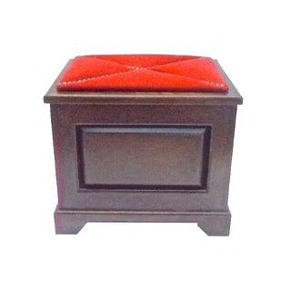 Antique Felt & Brass Accent Lidded Box Footstool