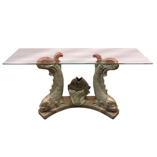 Koi Fish Beveled Glass Console Table