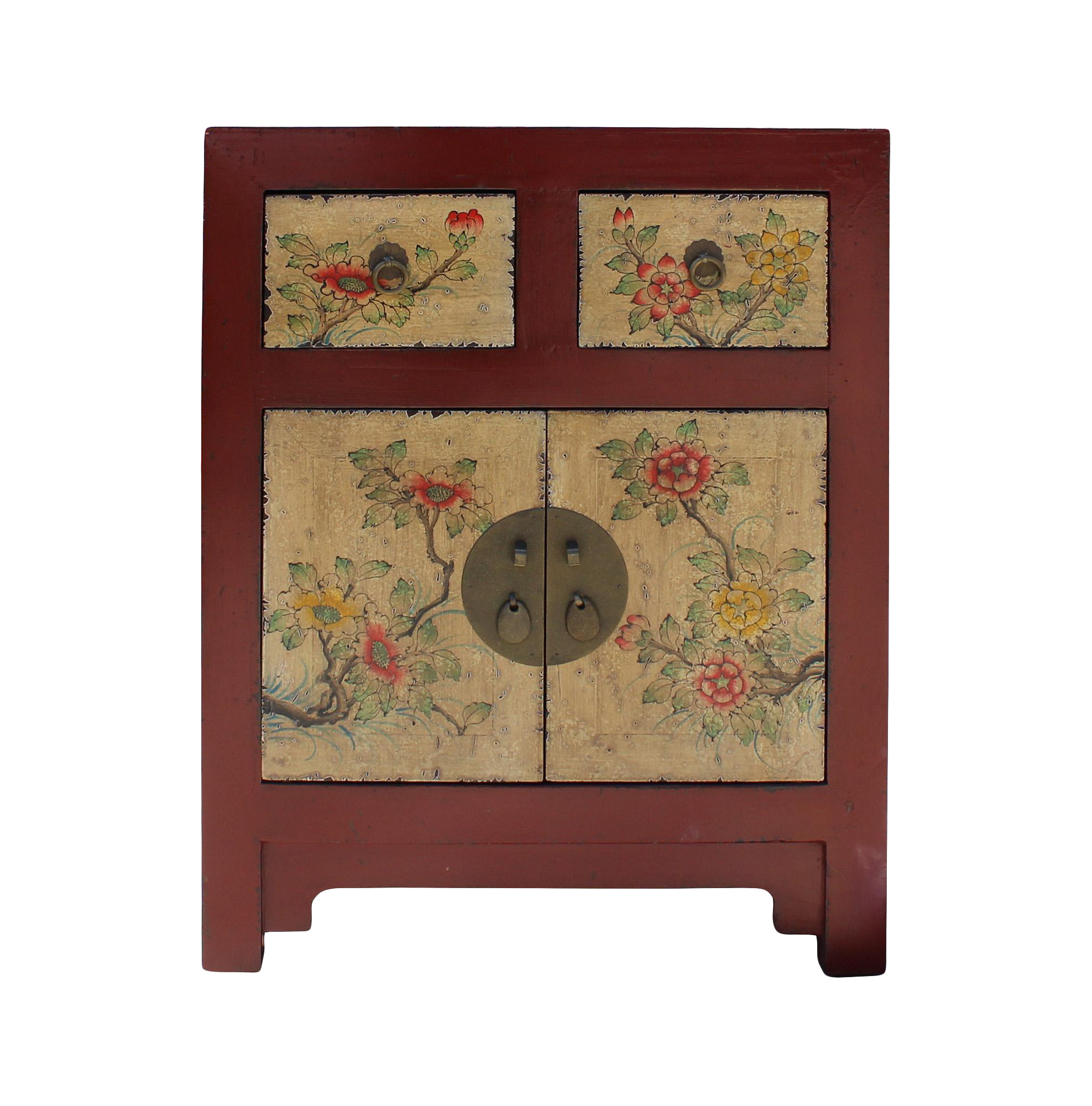Oriental Chinese Distressed Red Yellow Flower End Table Nightstand