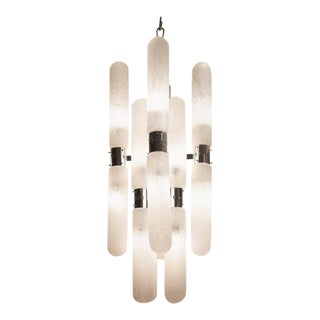 Mid-Century Chrome and Glass Sixteen-Arm Chandelier by Carlo Nason
