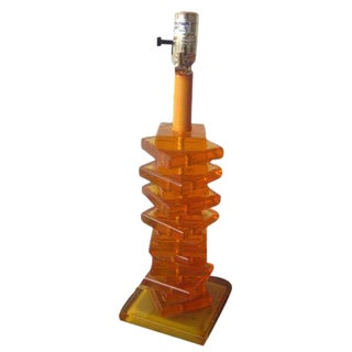 Modernist Orange Stacked Lucite Lamp