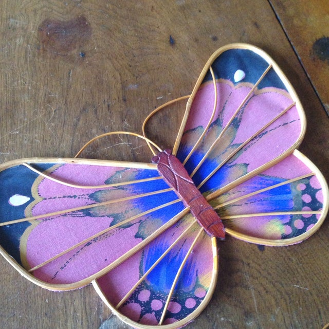 Vintage Rattan & Fabric Butterfly Wall Art - Set of 3 - Image 4 of 11