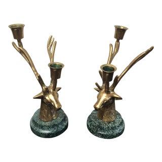 Brass & Green Marble Deer Candleholders - Pair