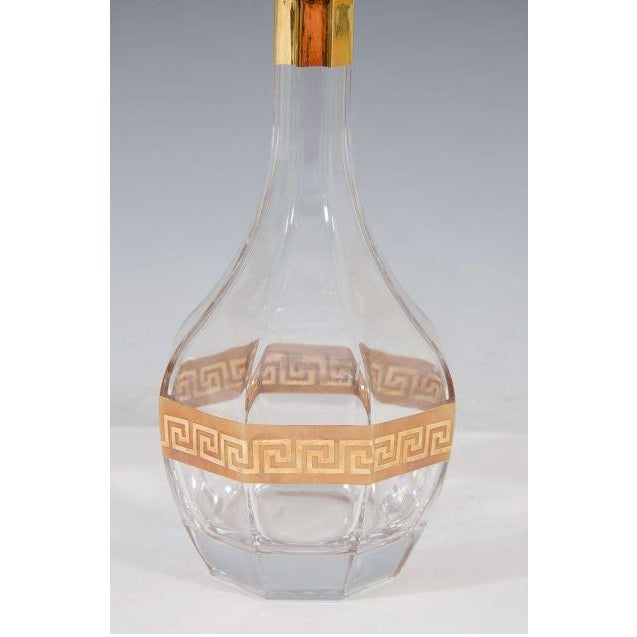 Italian Crystal Decanter, Gold Greek Key Design - Image 2 of 3