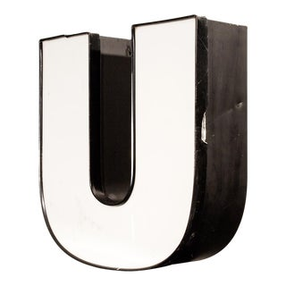 "Vintage Channel Letter ""U"" In White"