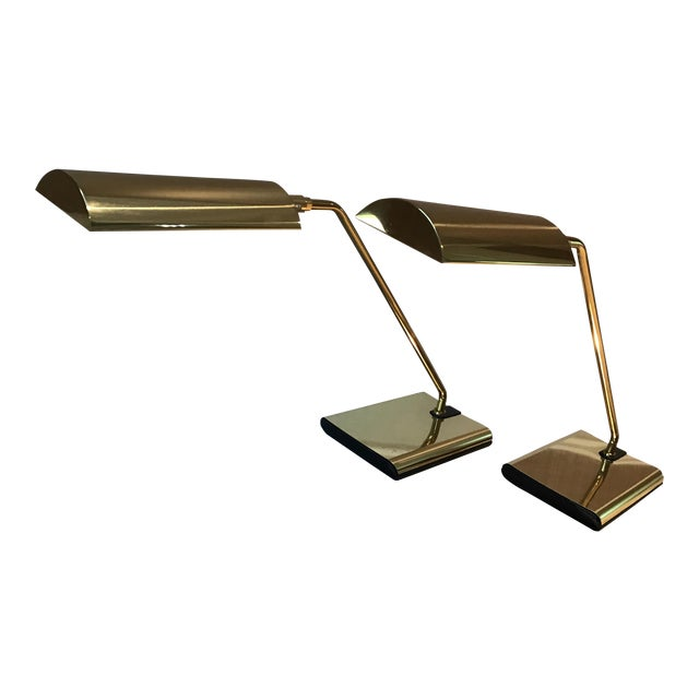 Koch & Lowy Brass Articulating Desk Lamps - A Pair - Image 1 of 9