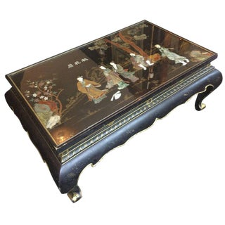 Rectangular Black and Gold Chinoiserie Coffee Table