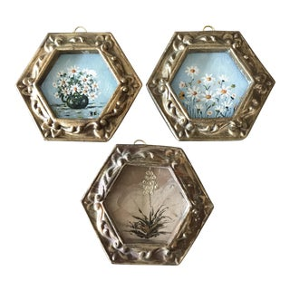 Small Floral Paintings - Set of 3