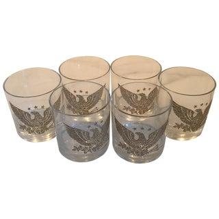 Vintage Embossed Eagle Highball Glasses - Set of 6