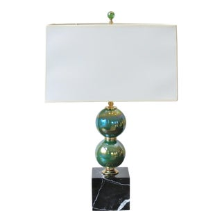 Emerald Glass Lamp with Black Italian Marble Base