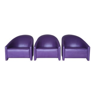 Leather Purple Contemporary Club Chairs - Set of 3