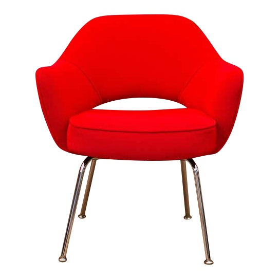 Image of Saarinen Executive Armchair, Vintage Knoll Red Textile