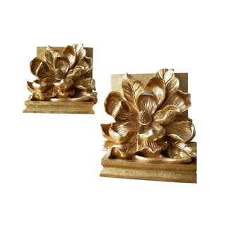 Vintage Gold Gilded Magnolia Dogwood Plaster Bookends - A Pair