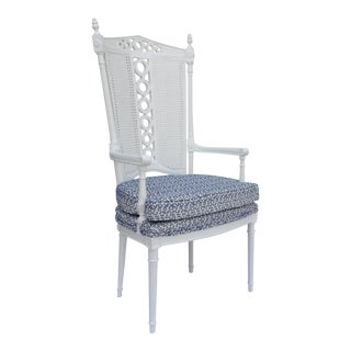 Hollywood Regency Aegean-Style High Back Arm Chair