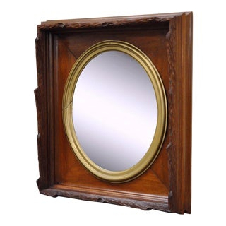 Antique Black Forest Victorian Faux Bois Carved Mahogany & Gold Gilt Mirror