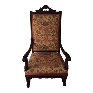 Antique Upholstered Walnut Armchair