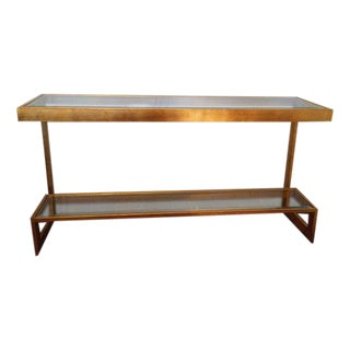 Contemporary Gilt Metal and Glass Console