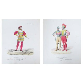 Antique 1799 Venetian Gentlemen Prints - A Pair