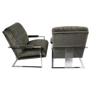 Milo Baughman Chrome & Lucite Chairs - A Pair