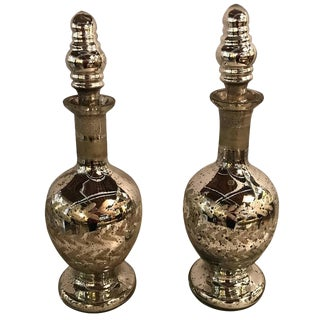 Mercury Glass Decanters - A Pair