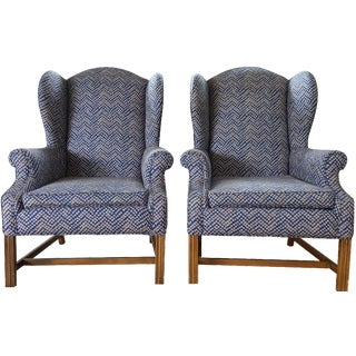 Chippendale Wingbacks in Navy Tribal - A Pair