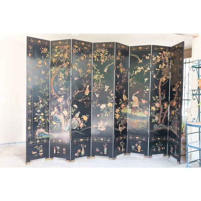 Large Lacquered Asian Screen - Image 2 of 8
