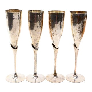 Antique Brass & Silver Champagne Flutes - Set of 4