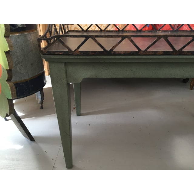 Vintage Green Coffee Table With Removable Tray