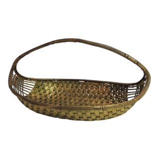 Vintage Flat Brass Decorative Woven Basket