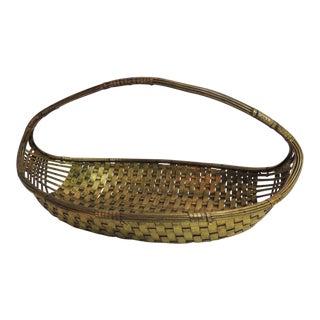 Vintage Flat Brass Decorative Woven Basket