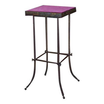 Antique 20th C. Altar Plum Velvet Table or Plant Stand - Image 1 of 9