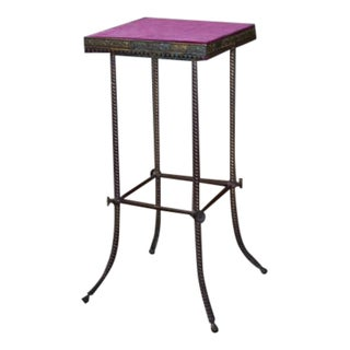 Antique 20th C. Altar Plum Velvet Table or Plant Stand