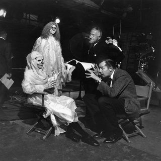 "Director William Castle with Vincent Price on the set of ""13 Ghosts"" 1960"