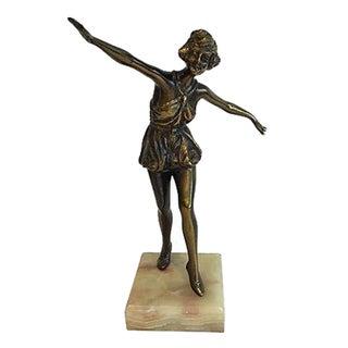 Art Deco Brass Figure on Marble Base