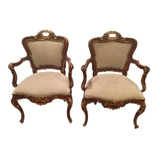 19th C. Painted & Gilt Wood Rococo Chairs - Pair
