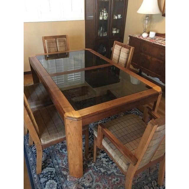 Vintage Oak Glass Top Dining Suite - Image 4 of 11