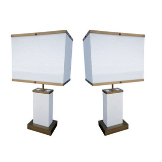 Pair of Dominici 1960s Acrylic and Bronze Table Lamps