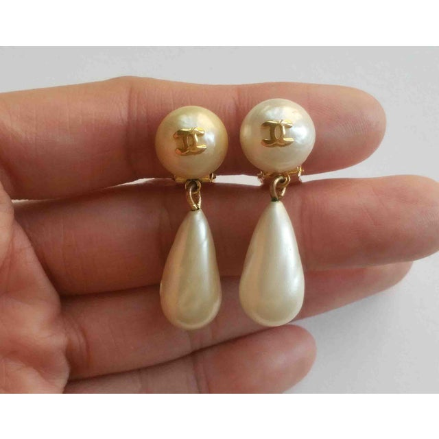 Image of Vintage Chanel CC Pearl Dangle Clip on Earrings