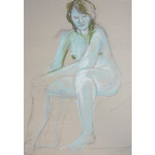 """Woman in Blue"" Contemporary Pastel Drawing"