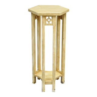 Arts & Crafts Distress Painted 2 Tier Hexagonal Plant Stand Table