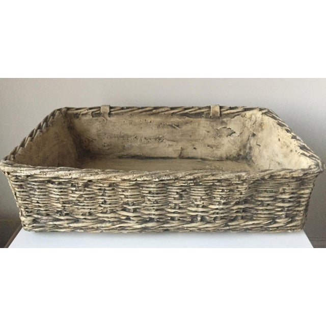 Vintage Concrete Basket Planter - Image 3 of 6