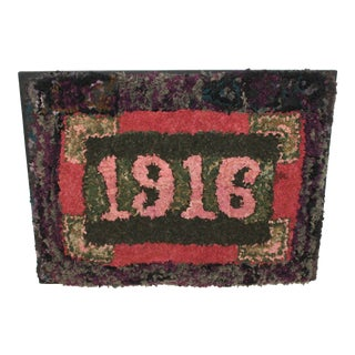 1916 Folky Mounted Hand-Hooked/ Shirred Rug