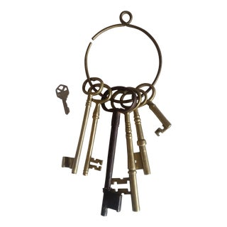 Oversize Brass Skeleton Keys - Set of 6