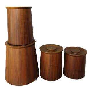 Gladmark Burbank California Teak Canisters - Set of 4