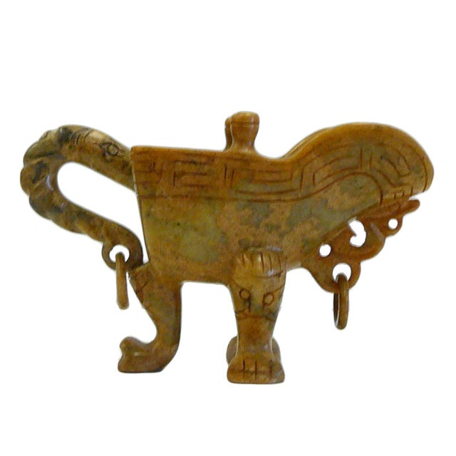 Image of Chinese Oriental Stone Carved Tri-Leg Cup